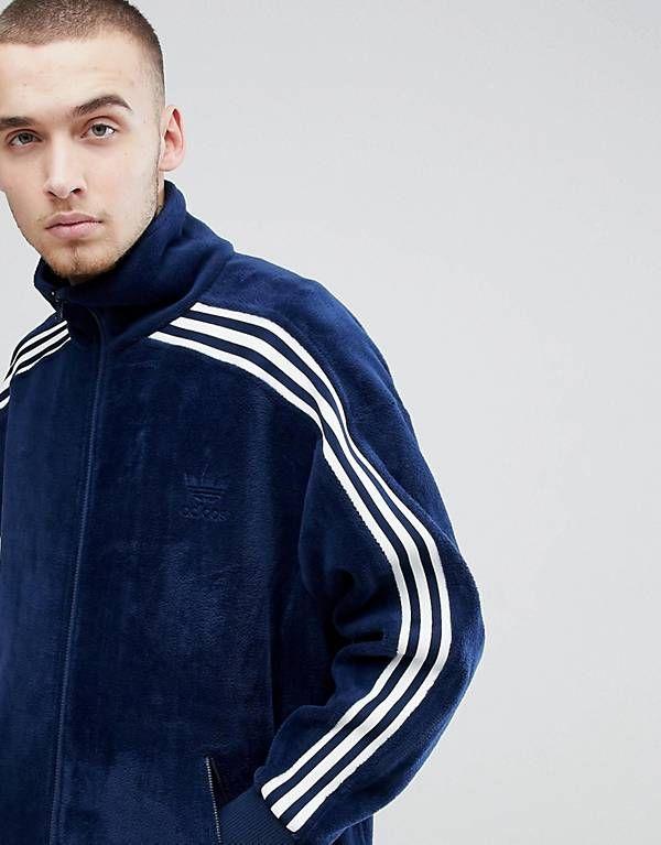 adidas Originals adicolor Velour Track Jacket In Oversized