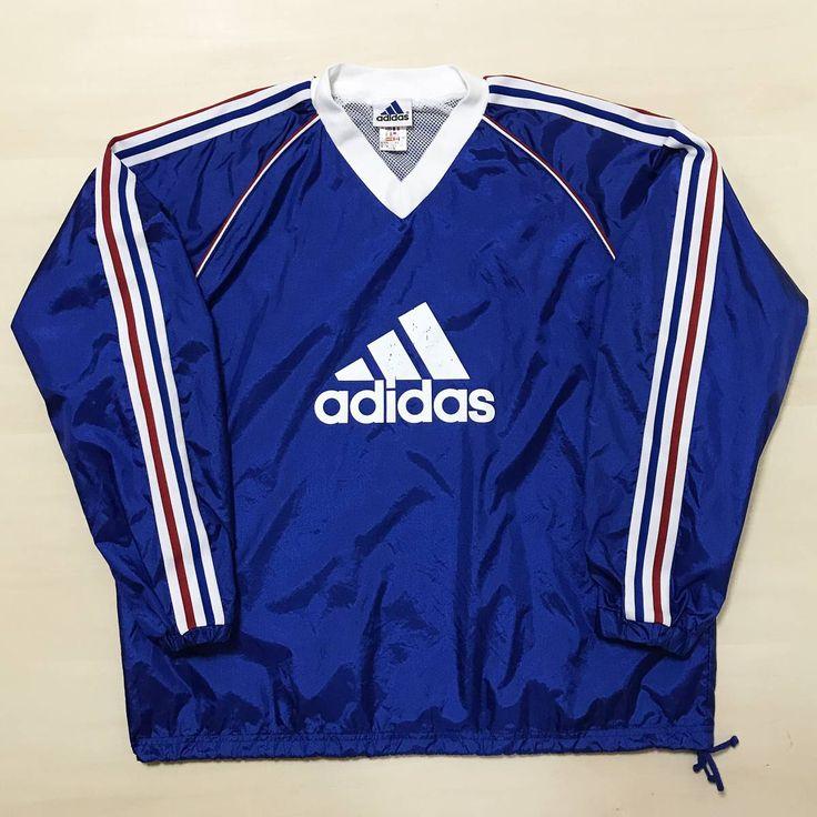 アディダス ピステ 上 ウインドブレーカー ジャケット ブルー 青色 トリコロール ナイロン XOサイズ サッカー adidas