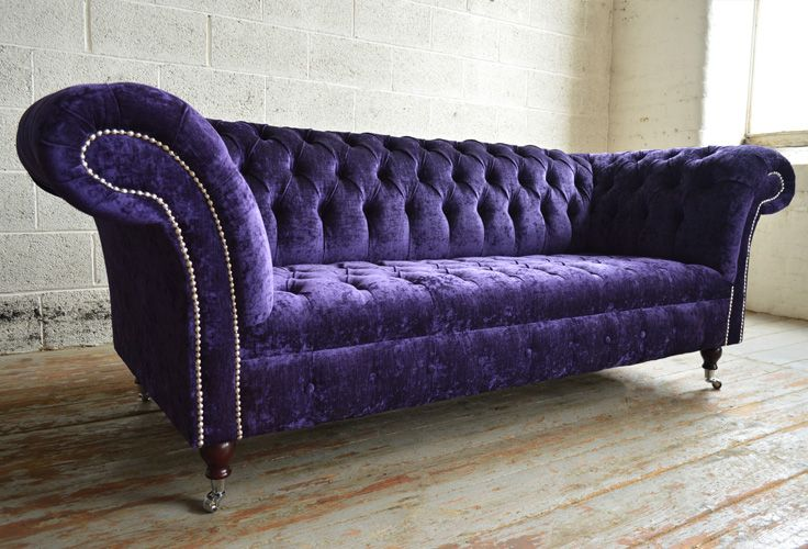 Modern British handmade Kensington deep buttoned Chesterfield Sofa, shown in a bold Electric Purple Velvet. 3 seater | Abode Sofas