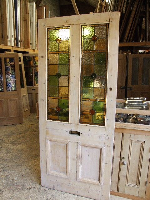 Antique stained glass entrance door