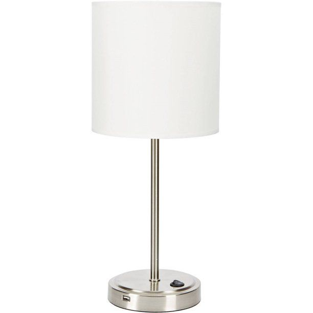 Mainstays Silver Grab And Go Stick Lamp With Usb Port Walmart Com Table Top Lamps Lamp Side Table Lamps