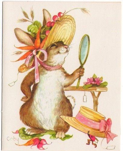 Vintage Greeting Card Bunny Rabbit