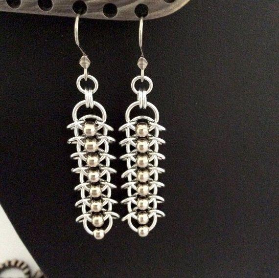 Centipede weave earrings in silver by DragonTearDesigns on Etsy
