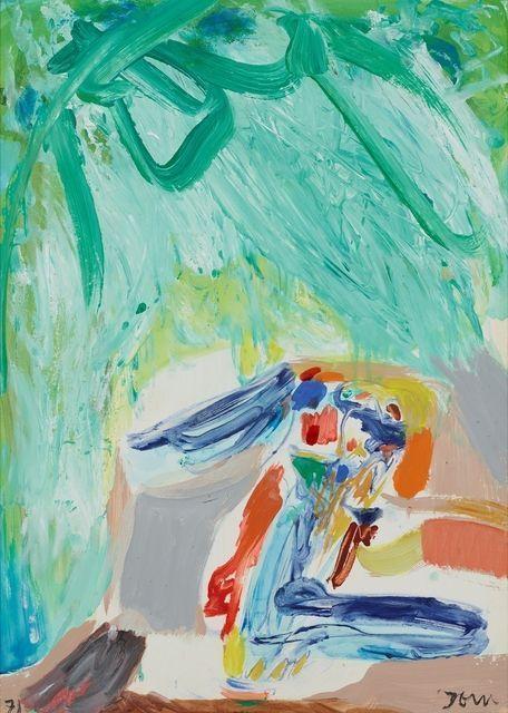 Asger Jorn (1914-1973) Pas halverwege de jaren vijftig vond Jorn zijn stijl waarmee hij internationale roem zou verwerven. De felle beweging van de lijn in zijn vroegere werk veranderde in een dramatisch bewogen verfmassa waarin schimmige wezens, geesten of wazige visioenen opdoemen. Jorn experimenteerde met allerlei technieken; zo werkte hij tevens in keramiek.-1971