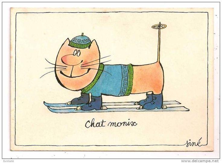 SINÉ - CHAT MONIX ( illustrateur - Chamonix - Ski - Humour ) - Delcampe.net
