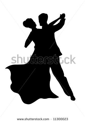 Silhouette of a dancing couple - stock photo