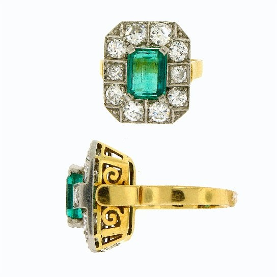 1940's Platinum on 18k Emerald and	Diamond Ring