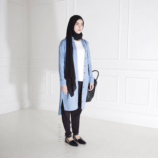INAYAH | Denim Shirt Dress + White Crepe Top + Black Modal Hijab + Black Crossover Trousers + Gold Rope Necklace www.inayahcollection.com
