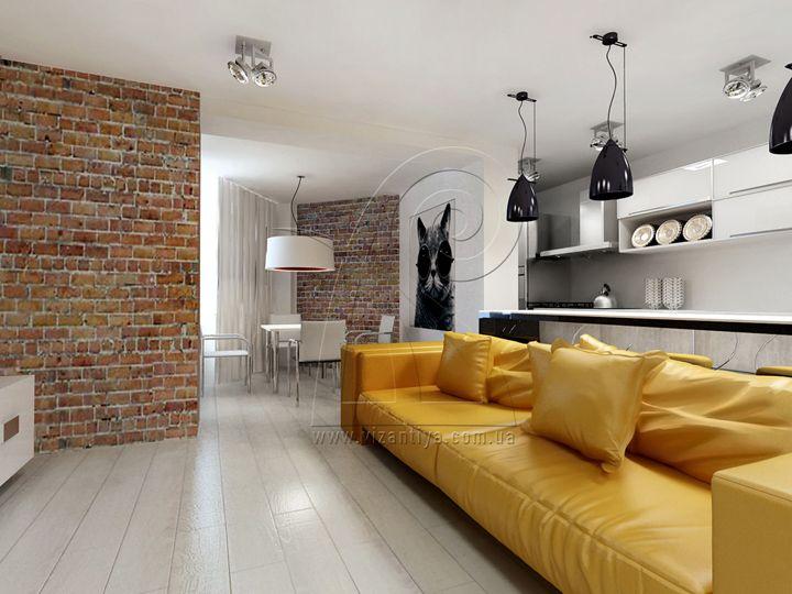Открытое пространство кухни, гостинной и столовой характерно для интерьеров в стиле лофт