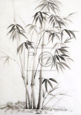 """Obraz lub Plakat """"kwiatowy, ilustracja, atrament - akwarela z bambusa"""" ✓ Prosty montaż ✓ 365 dni na zwrot ✓ Zobacz inne wzory z tej kolekcji!"""