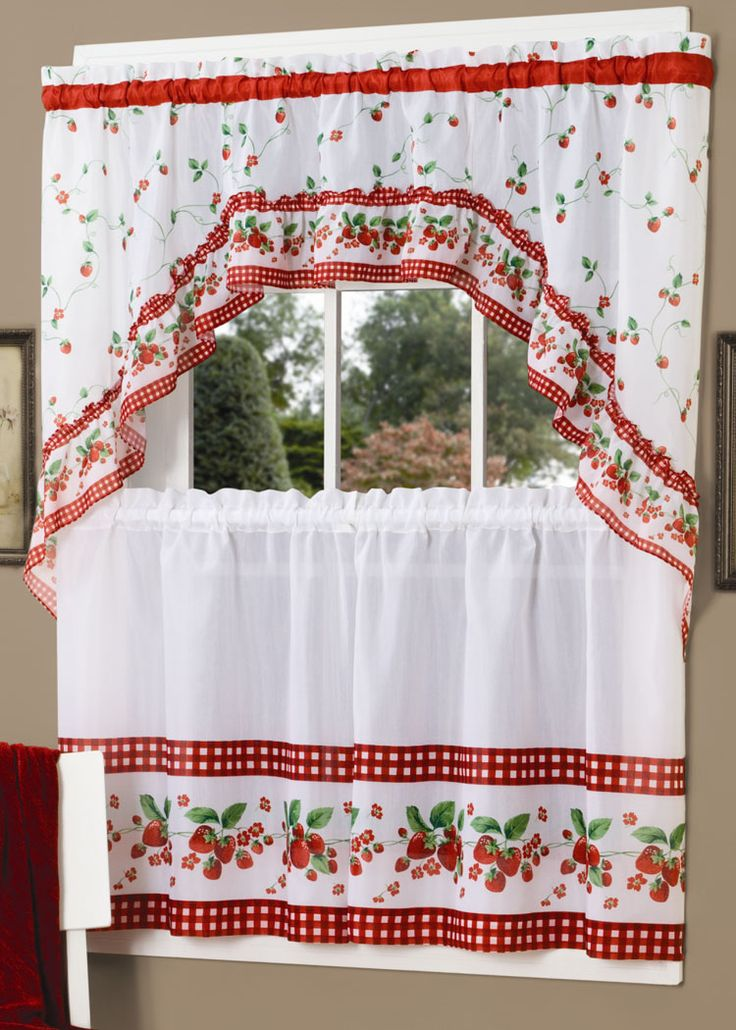Strawberry Vine is a gorgeous fruit theme tier & swag set. Pattern includes a strawberry scattered topper and crisp white tiers with checkered border. #Complete #Kitchen #Sets