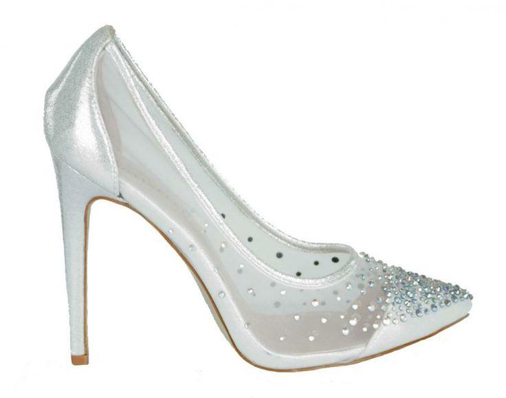 Pantofi Dama Deep Silver  -Pantofi dama  -Toc 11cm  -Detaliu varf ascutit  -Strasuri aplicate