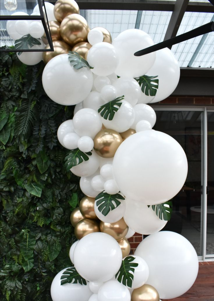 White and golden balloon garland