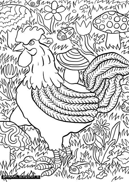 OPTIMIMMI | A free coloring page of a rooster, mushrooms and bugs / Ilmainen värityskuva kukosta, sienistä ja ötököistä