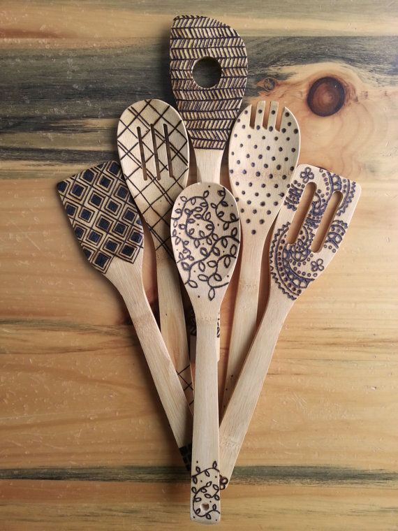 Whether you like to cook or not, these wooden spoons will be a conversation starter during your next get together. Bring a little art into your kitchen with these hand burned cooking utensils. All six come in the pack. These cooking utensils are food safe. The designs are burned in. Not painted on or drawn on; which means the designs will not rub off or wear down over time.