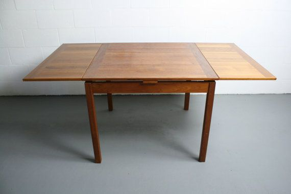 Vintage 60 39 s danish teak dining table mid century for Drop leaf extension table