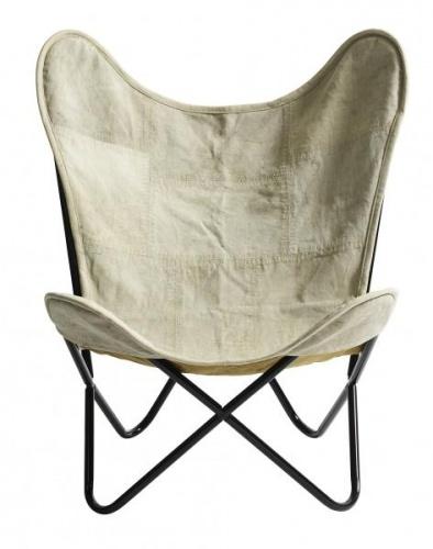 Stilig, tøff butterfly-stol med canvas stoff og sorte stolben.  H: 88 cm B: 80 cm