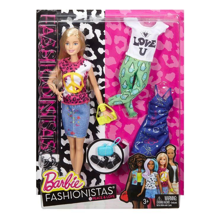 Met een heleboel nieuwe looks zijn deze Barbie Fashionistas poppen de ultieme stijlmodellen! Net als je vriendinnen zijn al deze poppen verschillend. Iedere pop heeft een andere kleur haar, een ander kapsel, een andere kleur ogen en een andere huidskleur en gezichtsvorm. Ze dragen fantastische outfits die aansluiten bij de laatste trends.Afmeting:  lengte barbie 30 cm - Barbie Fashionistas Peace & Love Doll & Fashions