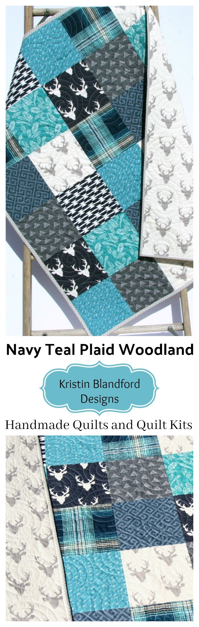 Navy Blue Plaid Baby Bedding, Baby Boy Quilt, Handmade Baby Bedding, Deer Buck Aztec Blue Buffalo Plaid Feathers, Handmade Quilt for Sale, Teal Navy Blue Grey Gray, Throw Quilt Kit, Toddler Quilt Kit, Baby Quilt Kit, Twin Bedding Quilt Kit, Simple Easy Patchwork Quilting Project Sewing Craft Idea for Kids by Kristin Blandford Designs #uniquegifts #babybedding #handmade #quilts #woodlandnursery #plaid