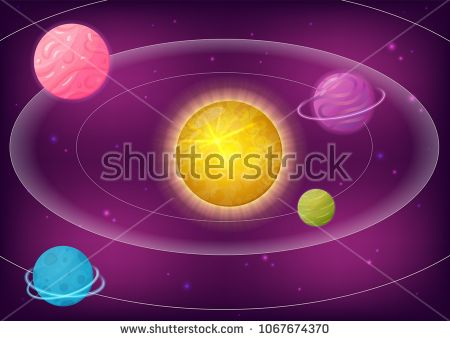 Vector illustration of fantasy galaxy with planets and stars. Perfect for games, devoted to space and universe and other design works.