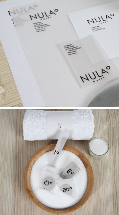 Interesting use of a transparent paper and icons in formal hotel branding /