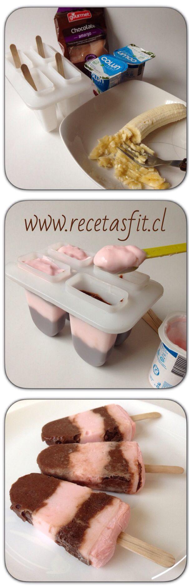 Super saludables!! Paletas de chocobanana y yogurt sin azucar ni grasas! Receta facilisima aca➡️www.recetasfit.cl