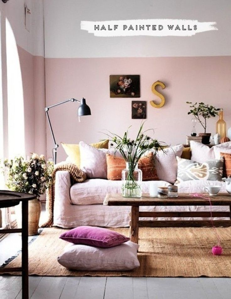 Living room: half-paint walls to make the ceiling appear higher