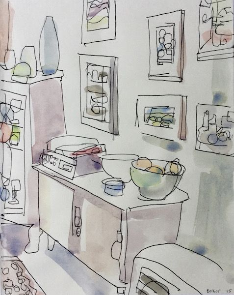 John Bokor - The Record Player (ink and watercolour)