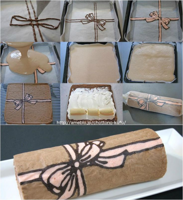 Patterned cake roll - Génoise motif ruban. Astuce décoration gâteau roulé, bûche