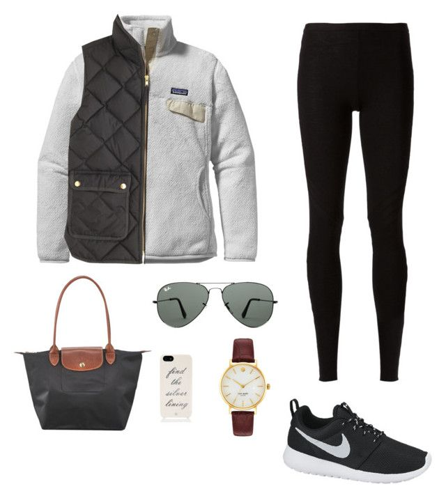 """Shopping"" by perfect-preppy ❤ liked on Polyvore featuring Patagonia, J.Crew, Rick Owens Lilies, NIKE, Longchamp, Ray-Ban and Kate Spade"