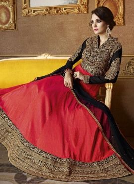Long designer party wear orange floor length anarkali suit G17381