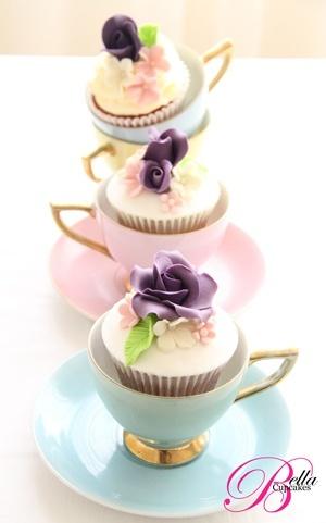 cup cake in the tea cup......Cute idea for high tea