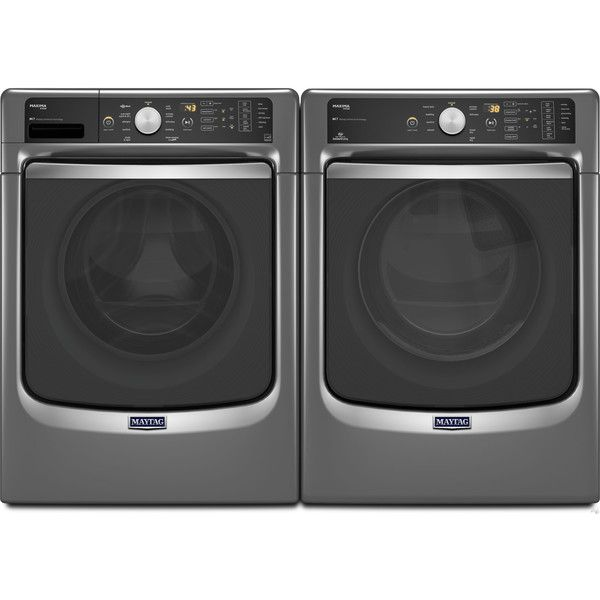 Create and chic and functional look to your laundry room with this sleek washer and dryer by Maytag.