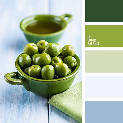 Los tonos verdes de esta paleta armonizan muy bien con el azul oscuro y el celeste.  Tal gama de color es idónea para decorar una cocina al estilo moderno.