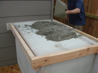 DIY Concrete Countertops - SAY WHAAAAAAAT? I want to do this with colored concrete & imbend stuff in it.