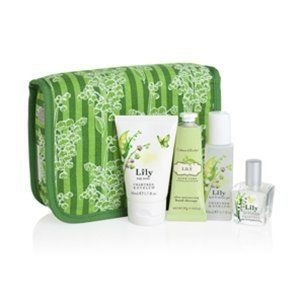 Crabtree & Evelyn Lily Great Escape Travel Gift Set in a Cotton Cosmetic Case (4pc - Ultra-Moisturising Hand Therapy 25g - Body Lotion 50ml - Bath & Shower Gel 50ml & Eau de Toilette 15ml) by Crabtree & Evelyn. $32.99. Lily Eau de Toilette (15mL). Lily Body Lotion (50mL) & Lily Bath & Shower Gel (50mL. Fragrance: A heart of lily of the valley blended with dewy greens, woodland mosses, musk, and ylang ylang.. Indulge in the fresh scent of springtime wherever you go wit...