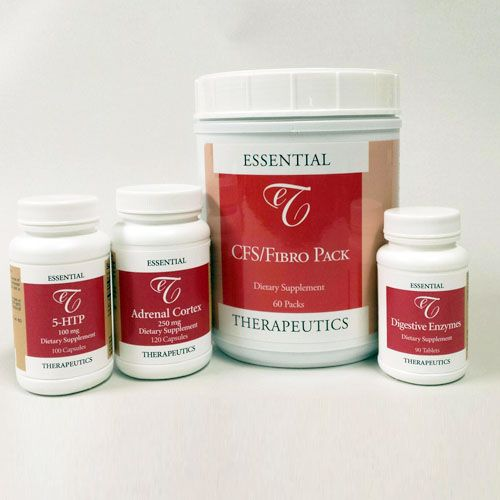 These are the products used for 99% of all our Fibromyalgia and CFS patients. This Jump Start Package is for those individuals who want to start beating Fibromyalgia and CFS RIGHT AWAY. Includes These 4 Products: CFS/Fibro Formula,Adrenal Cortex 250mg,Digestive Enzymes, and 5HTP 100mg.