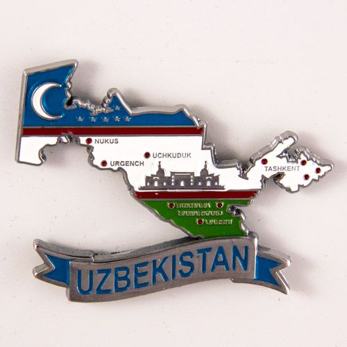 Metal Fridge Magnet: Uzbekistan. LIMITED EDITION: Map of Uzbekistan (Chrome Plating and Enamel)