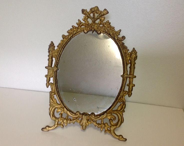 Antique Victorian Tabletop Ornate Gold Gilt Cast Iron Vanity Mirror with Swivel Leg Stand FREE SHIPPING by JeanniesDreamVintage on Etsy
