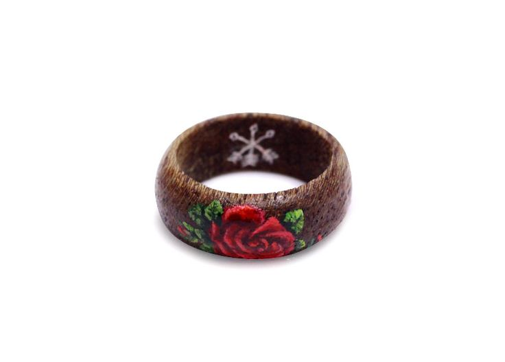 Hand painted red rose on wooden ring by Huntress & Hunter. Limited edition miniature wearable art pieces. #wooden #ring #handmade