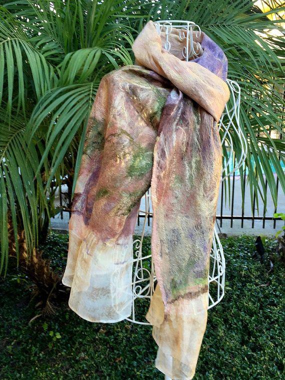 Merino Wool Felted Scarf Wearable Art Scarf by GardenFeltbyMarina