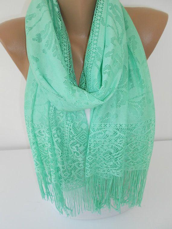 Mint Scarf Shawl Tulle Scarf Cowl Scarf Women Fashion by ScarfClub