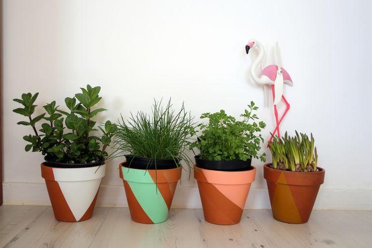 DIY pots colorés et géométriques by Emilie sans chichis. Avec des pots en terre cuite, du masking tape & des bombes de peinture !