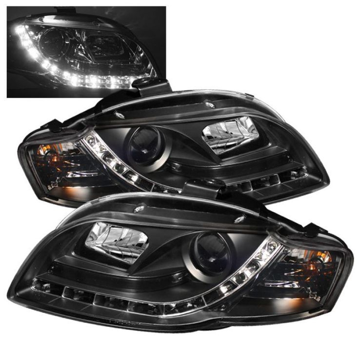 Spyder 2006-2008 Audi A4 Projector Headlights Halogen Model Only with Bulbs - DRL Black - Set of 2 (PRO-YD-AA405-DRL-BK)