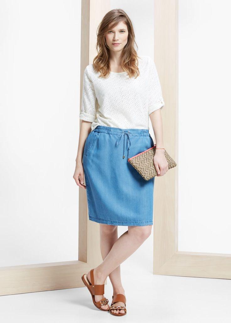 Soft denim rok met twee steekzakken Elastische tailleband met aansnoerkoord en ritssluiting aan de achterkant