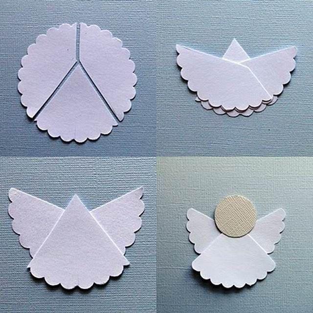 Az angyalka  az egyik legaranyosabb ünnepi dekoráció, amiből sokféle létezik, a papírból készített, hajtogatóstól a jégkrém pálcikáson át a tortacsipkéből ragasztott, különlegesen applikált verziókig.Filléres, vagyis olcsó. Egyszerű, azaz nem kell több napot rá…