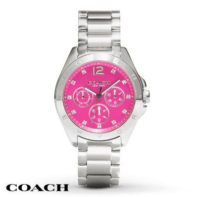 This Tristen women's chronograph watch from Coach is splashed with a deep pink dial set in a 36mm stainless steel case. Three silver-tone trimmed subdials round out the dial while a stainless steel bracelet secures the watch with a push-button deployment clasp. The Swiss quartz movement is protected by a mineral crystal, and the women's watch is water-resistant to 30 meters.