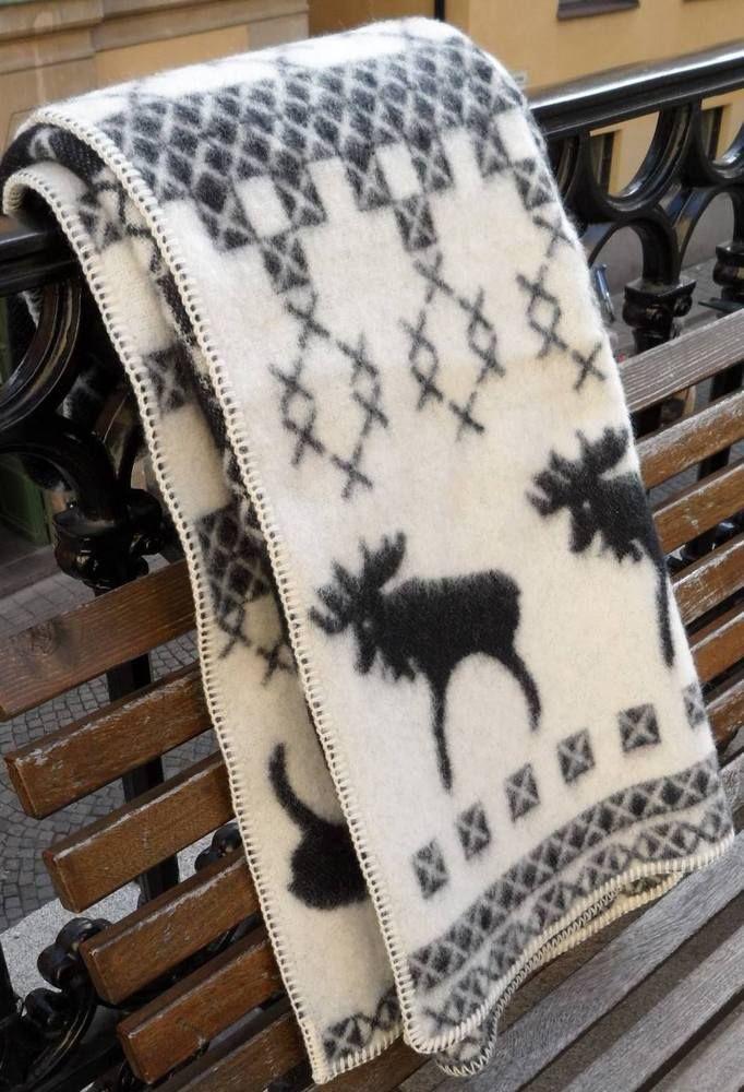 Wolle Decke 100 Merino Wohndecke Schweden Elch Natur Picknick