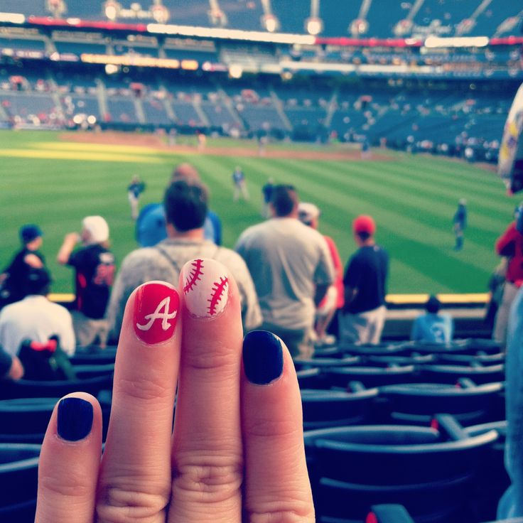 Atlanta Braves nails! @Brittni Hicks Hicks Hicks Cooper ~ here's you sometimes ideas for this summer for your nails