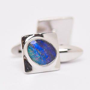 Alan Thomson Design Queensland Boulder Opal Cuff Links. #fremantleopals #opal #boulderopal #alanthomsondesign